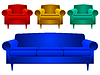 Векторный клипарт: диван и кресла