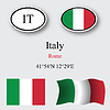 Vector clipart: italy icons set