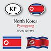 Vector clipart: north korea icons set