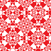 Vector clipart: red white flowers pattern