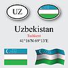 Vector clipart: uzbekistan icons set
