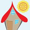 Векторный клипарт: дом и солнце