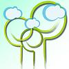 Векторный клипарт: стилизованные деревья и облака
