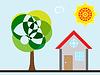 Векторный клипарт: дерево дом и солнце