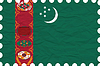 Vector clipart: wrinkled paper turkmenistan stamp