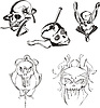 Vector clipart: Set of skulls and boneheads