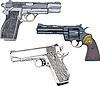 Armas de fuego Set - Pistolas y Revolver | Ilustración vectorial