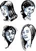 Векторный клипарт: Набор женских лиц Разное