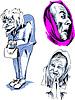 Векторный клипарт: Набор старших женских лиц