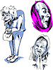 Vector clipart: Set of Senior Female Faces