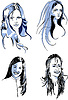 Vector clipart: Set of Young Long Haired Female Faces