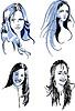 Векторный клипарт: Набор молодых длинный волосатая женских лиц