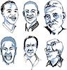 Vector clipart: Set of Miscellaneous Male Faces