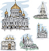 Vector clipart: Famous churches and cathedrals in Mosocw, Russia