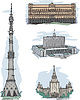 Vector clipart: KGB, White House, MSU and Ostankino TV tower