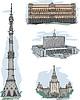 Vektor Cliparts: KGB, Weißes Haus, MSU und Fernsehturm Ostankino