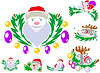 Vector clipart: Set of patterns with St. Claus and Rudolph reindeer