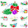 Vector clipart: Set of winter holiday decorations with xmas balls