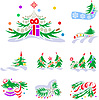 Vector clipart: Set of winter holiday decorations with fir trees