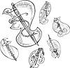 Векторный клипарт: Набор стилизованных украшенных ножей