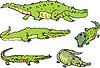 Vector clipart: Set of comic gators and amusing crocodiles