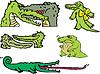 Set of comic gators and amusing crocodiles