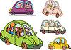 Набор комических без фирменных семейных автомобилей