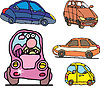 Vector clipart: Set of comic non-brand family cars