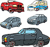 Vector clipart: Set of comic non-brand cars