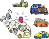 Vector clipart: Set of comic non-brand emergency service cars