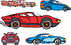 Vector clipart: Set of comic non-brand sport and luxury cars