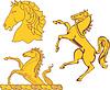 Набор геральдических лошадей | Векторный клипарт