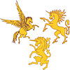 Vector clipart: Set of mythic heraldic unicorns and pegasus