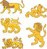 Set of heraldic lions