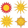 Vector clipart: Set of heraldic suns and solar signs