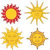 Набор геральдических солнца и солнечных знаков | Векторный клипарт