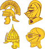 Vector clipart: Set of heraldic helmets - medieval, ancient,