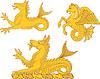 Векторный клипарт: Набор геральдических морских коньков