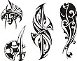 Four tribal tattoo designs | Stock Vector Graphics