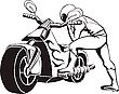 Vector clipart: Biker sits to motorcycle