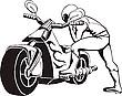 Vektor Cliparts: Biker sitzt auf Motorrad