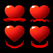 Vector clipart: Red shiny hearts