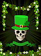 Vector clipart: Leprechaun skull and clovers