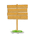 Stylized wooden board on grass | Stock Vector Graphics
