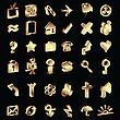 Vector clipart: 3D gold icons set