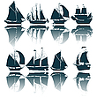 Vector clipart: Sailing ship silhouettes