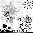 Puppy with bone | Stock Illustration