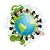 Vector clipart: Children around the globe
