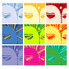Vector clipart: Faces of Buddha