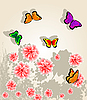 Vector clipart: Flower and butterfly